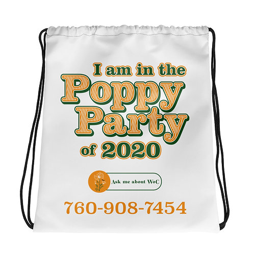 Poppy Party Drawstring Bag