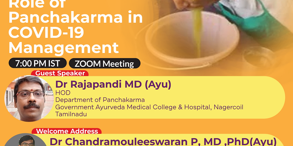 Role of Panchakarma in COVID-19 Management   Dr Rajapandi MD (Ayu)   Ayurveda College Coimbatore
