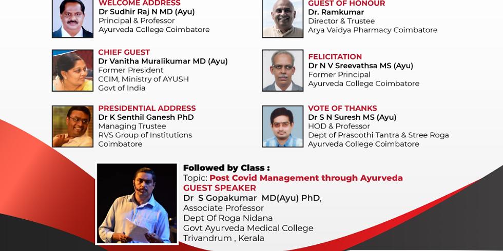 Dr. S Gopakumar  MD(Ayu) PhD   National Ayurveda Day Celebration 2020   Ayurveda College Coimbatore
