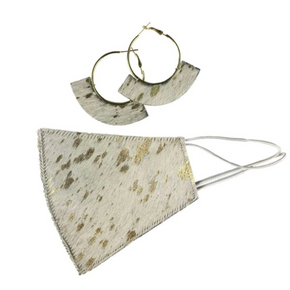 Leather Face Mask and Earring Set GOLD