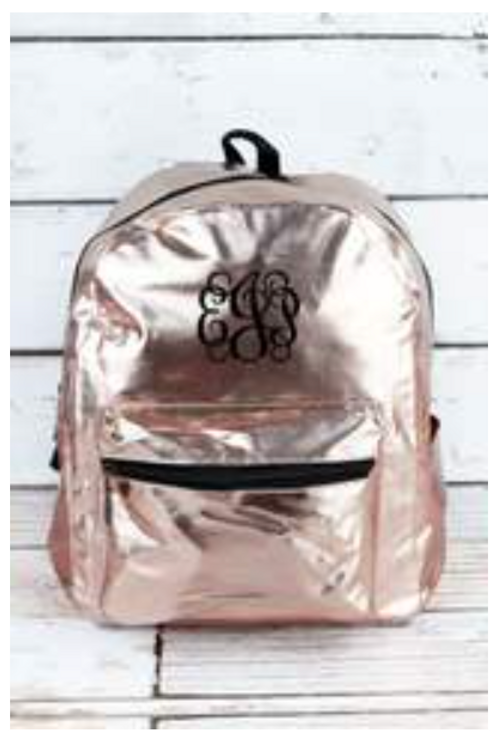 Metallic Rose Gold Faux Patent Leather Small Backpack