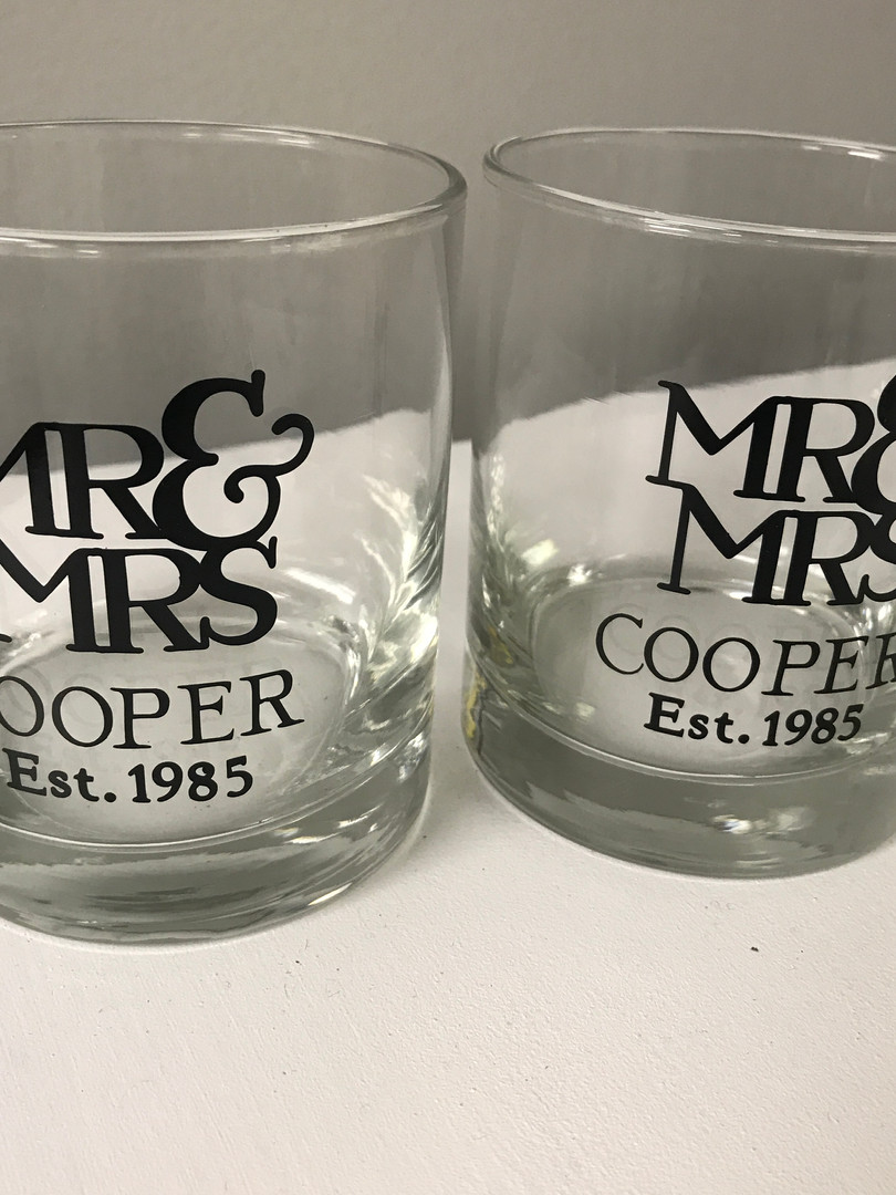 Mr and Mrs Personalized Beverage Glasses