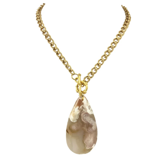 Gold Link Chain with Teardrop Pendant