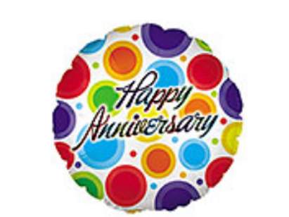 Happy Anniversary Colorful Circles Mylar Balloon