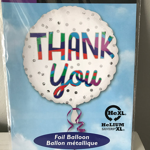 """""""Thank You"""" White Dots Balloon"""