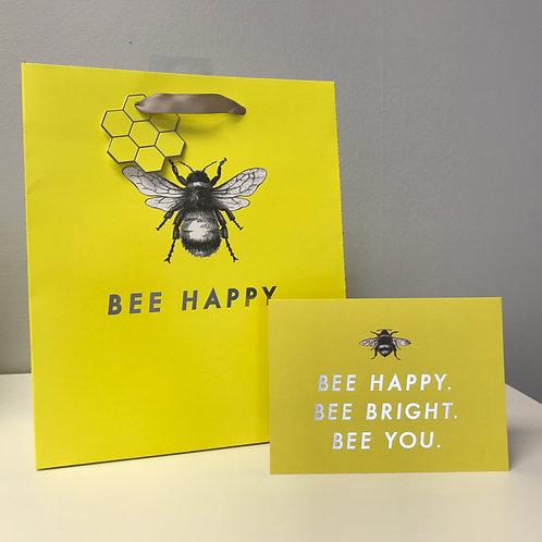 Bee Happy Card & Gift Bag Set