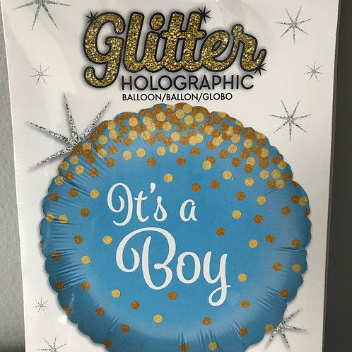 """It's a Boy"" Gold Polka Dot Balloon"