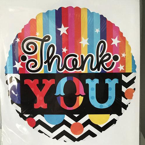 """Thank You"" Colorful Stripes Balloon"