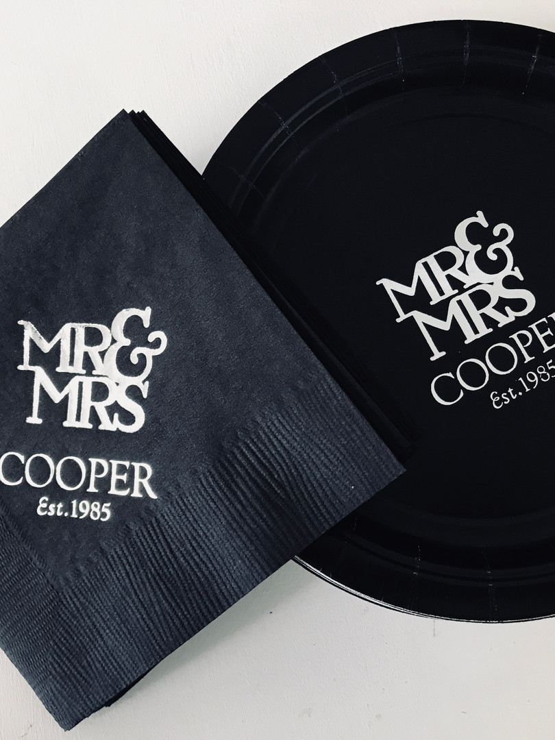 Personalized Wedding Plates and Napkins