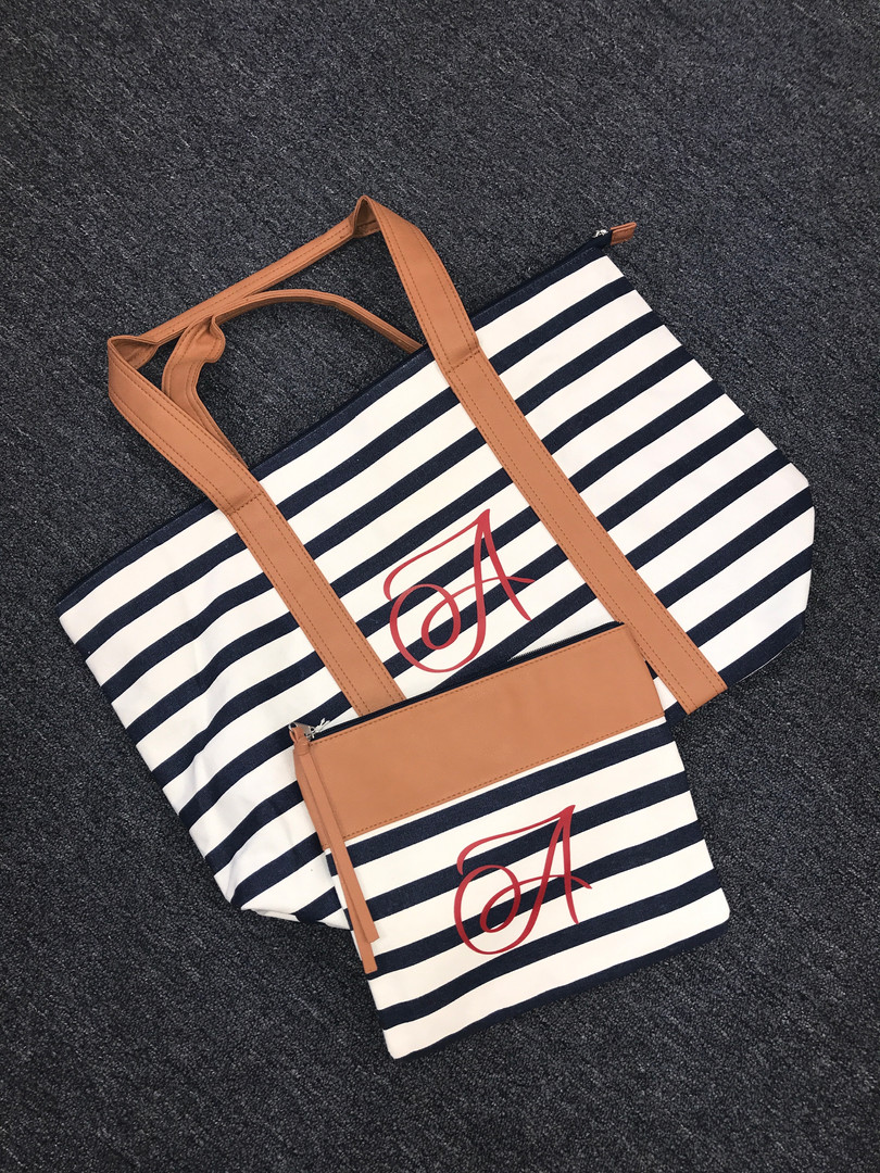 Personalized Matching Tote and Clutch