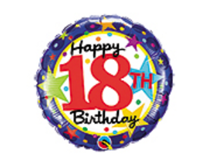 Happy 18th Birthday Mylar Balloon