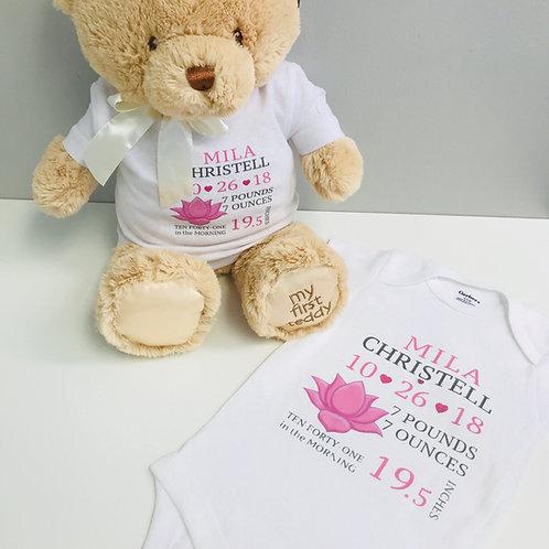 Baby & Bear Matching Birth Tees - Girl