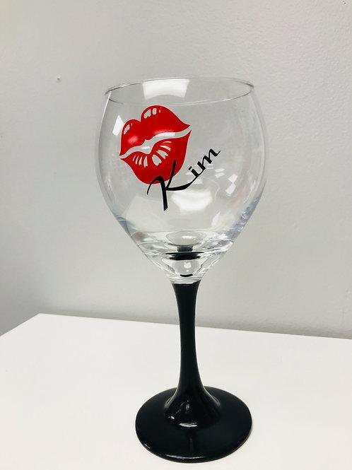 Personalized Kiss Wine Glass