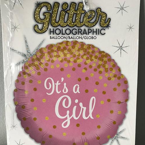"""""""It's a Girl"""" Gold Polka Dot Balloon"""