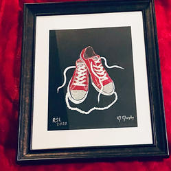 #22 Hand Painted Chuck and Pearls Painting in Frame