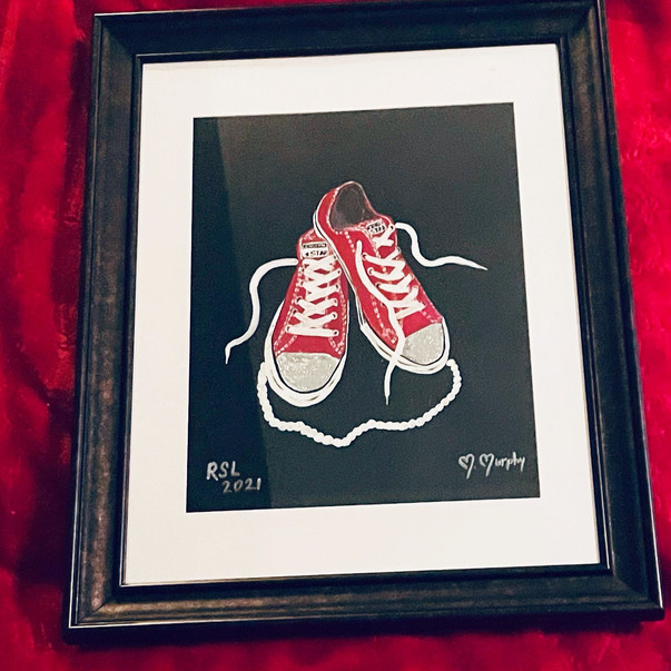 Hand Painted Chuck and Pearls Painting in Frame