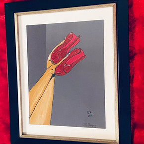Hand Painted Red Shoe Painting