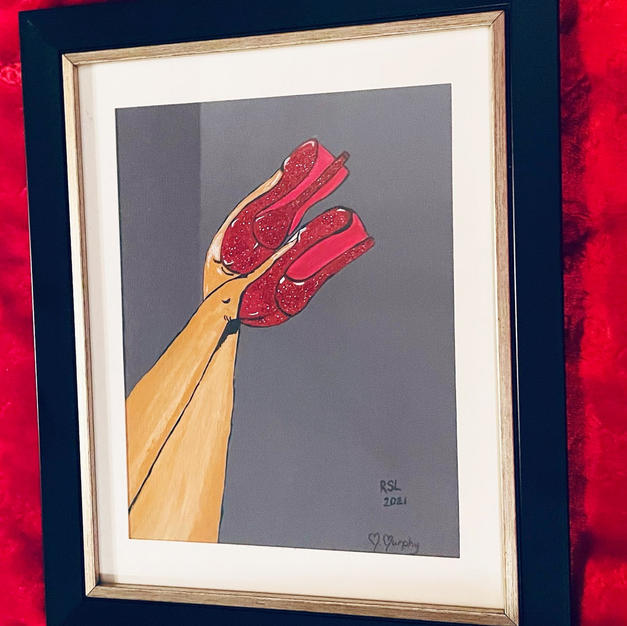 #23 Hand Painted Red Shoe Painting