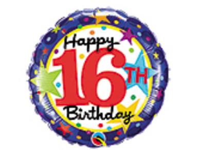 Happy 16th Birthday Mylar Balloon