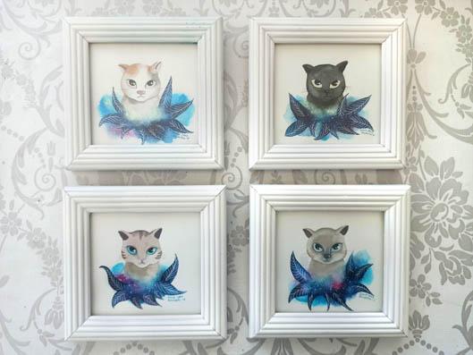 Colección 4 acuarelas de gato.