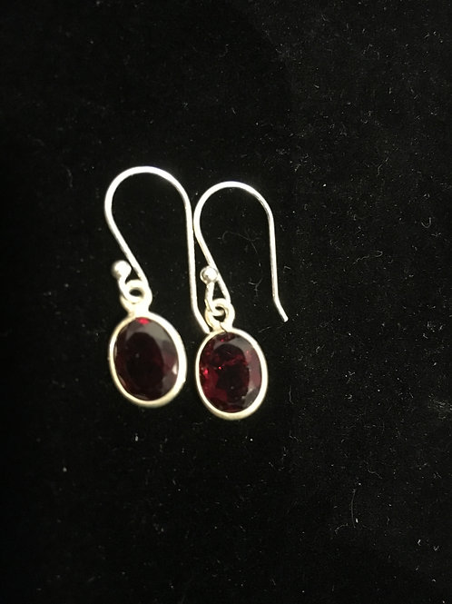 Garnet Faceted Cut Small Oval Drop Sterling Silver Ear-rings