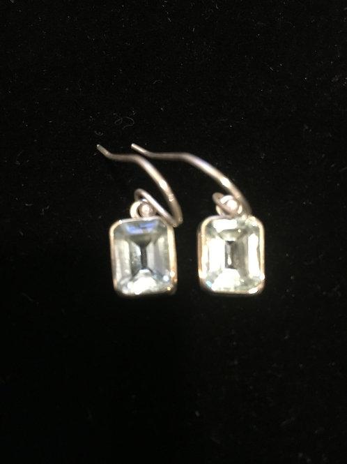 Blue Topaz Faceted Cut Slight Rectangular Sterling Silver Ear-rings