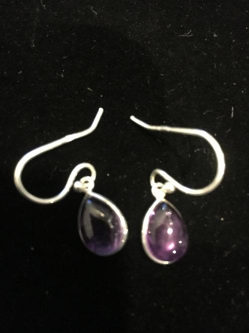 Amethyst Teardrop Sterling Silver Ear-rings