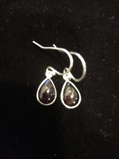 Garnet Teardrop Sterling Silver Ear-rings