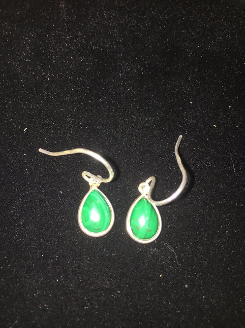 Malachite Teardrop Sterling Silver Ear-rings