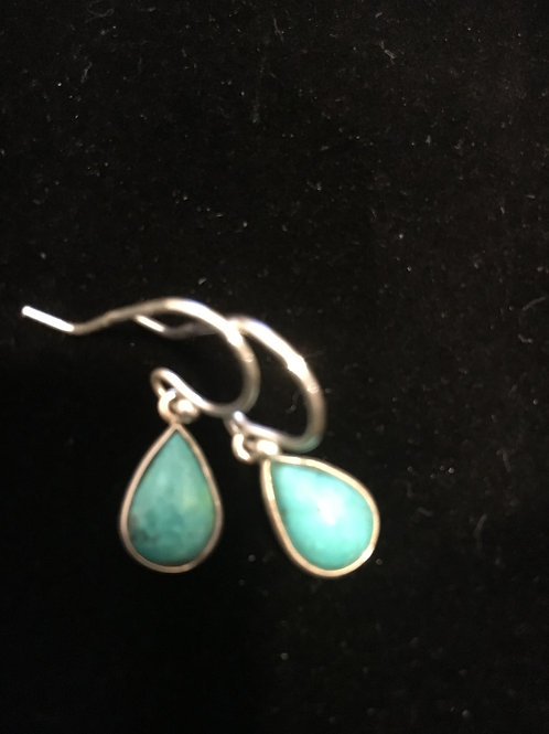 Turquoise Teardrop Sterling Silver Ear-rings