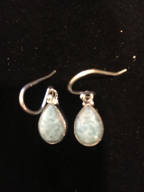 rare Larimar Teardrop Heavy Duty Sterling Silver Ear-rings