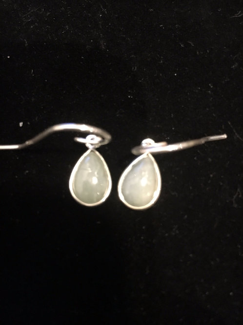 Aquamarine Teardrop Sterling Silver Ear-rings