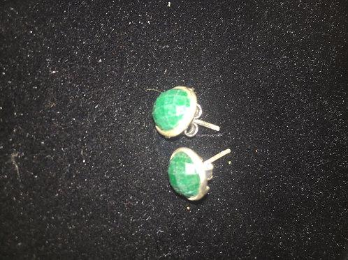 Emerald Circle Sterling Silver Stud Ear-rings
