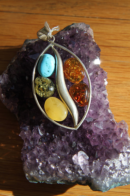Howlite and various Amber sterling silver pendant