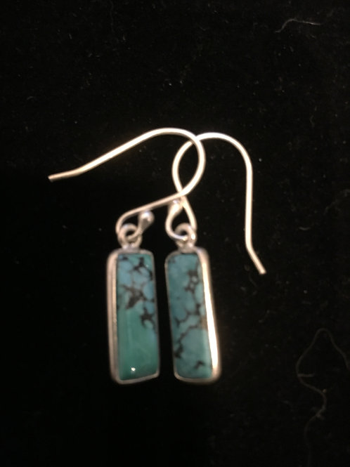 Turquoise Rectangle Sterling Silver Ear-rings