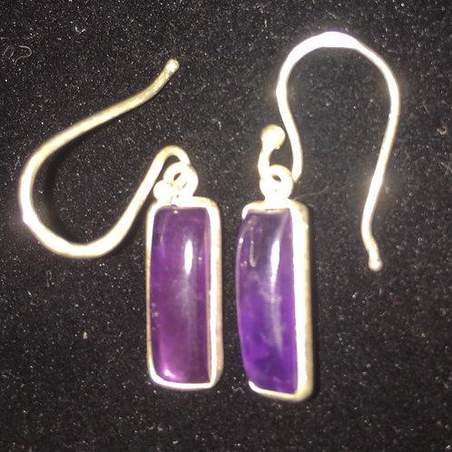 Amethyst Rectangle Sterling Silver Ear-rings