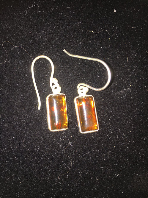 Amber Rectangle Sterling Silver Ear-rings