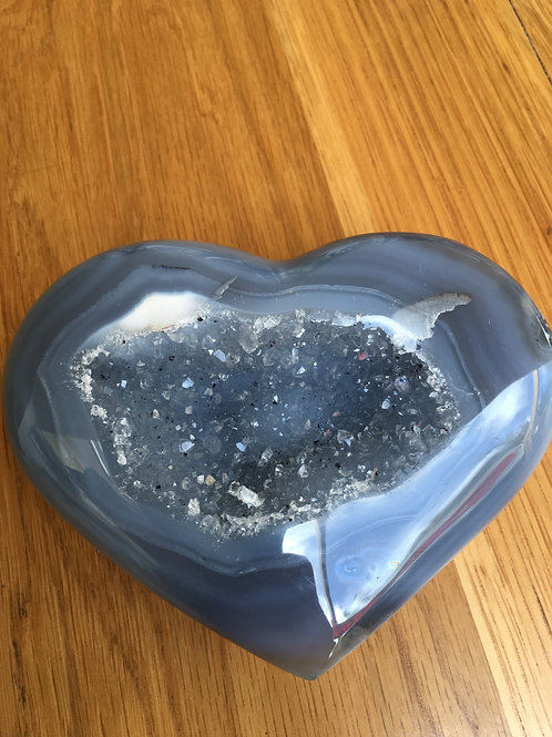 Agate (Blue) Crystalised Heart large (700 grams)