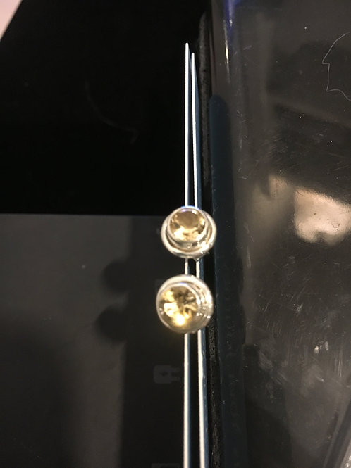 Citrine Small Circle Sterling Silver Stud Ear-rings
