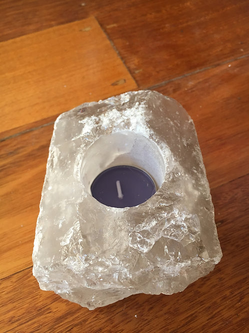 Smoky Quartz chunk tea candle holder
