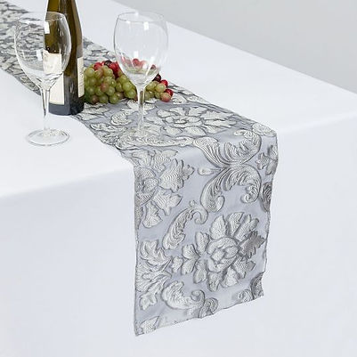 Grey Baroque Sheer Table Runner | Unforgettable Events