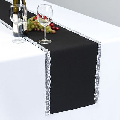 Lace Trim Black Table Runner Rental | Unforgettable Events
