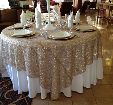 Gold Sequin Overlay Rental | Unforgettable Events