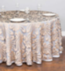 sheer hibiscus champagne tablecloth   Unforgettable Events