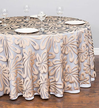 sheer hibiscus champagne tablecloth | Unforgettable Events