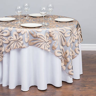 Sheer Hibiscus Overlay Rental | Unforgettable Events
