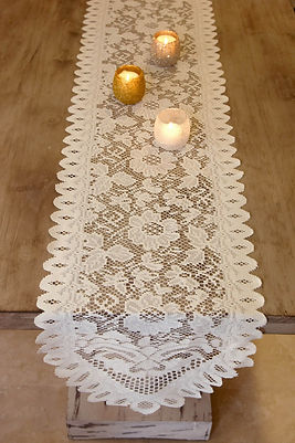 Ivory Lace Table Runner Rental | Unforgettable Events