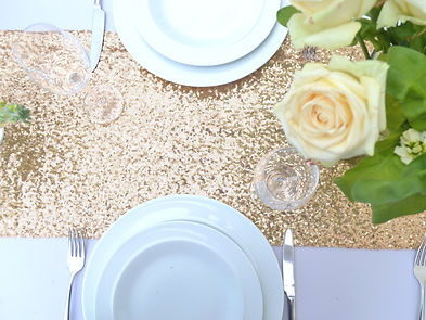 Gold Sequin Table Runner Rental | Unforgettable Events