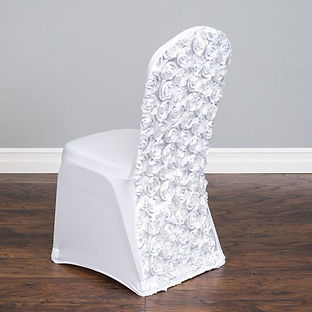 White Satin Rosetta Chair Cover Rental | Unforgettable Events
