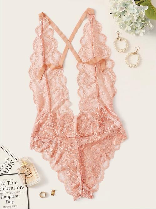 Scalloped Trim Floral Lace Teddy Bodysuit